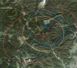 The site of North Korea's three underground detonations, annotated by the Comprehensive Test Ban Treaty Organization. Photo: Google Earth via CTBTO