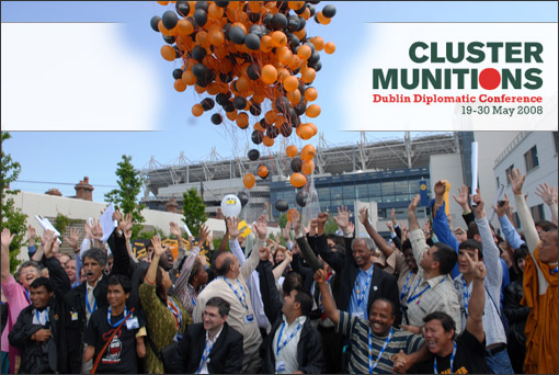 Campaigners celebrate adoption of the Convention on Cluster Munitions in Dublin at end of negotiations in May 2008.