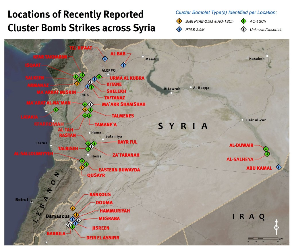 Human Rights Watch map of cluster munition strikes in Syria