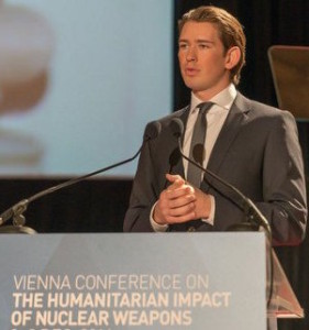 Austrian Foreign Minister Sebastian Kurz at the Vienna conference on the Humanitarian Impact of Nuclear Weapons