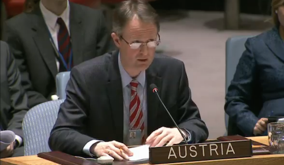 Austria's representative delivers a statement during the UNSC open debate on PoC, January 2015 (UNTV webcast screen grab)