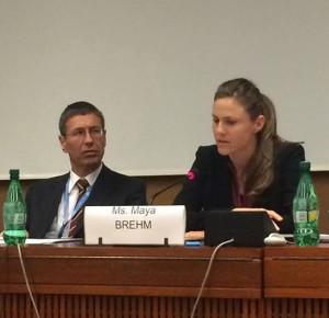 Maya Brehm of Article 36 with Austrian Ambassador Thomas Hajnoczi (Maya Brehm)