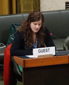 Mia Gandenberger of WILPF delivers their statement for International Women's Day at the Conference on Disarmament (WILPF)