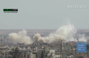 Still from a video produced by Human Rights Watch showing a barrel bomb explosion (http://multimedia.hrw.org/distribute/iyvtqzelcp)