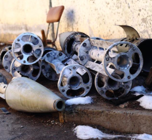 Remnants from 6 Uragan cluster munition rockets that struck Starobeshevo, Ukraine in February. (Ole Solvang/Twitter https://twitter.com/OleSolvang/status/566619633130954752)