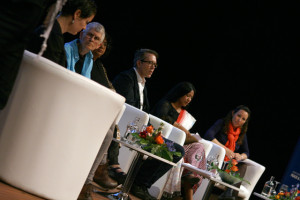 "Panelists at the plenary session ""Root Causes; Power, War and Weapons"" at WILPF's Women's Power to Stop War conference (WILPF international https://www.flickr.com/photos/wilpf-international/17388947631/)"