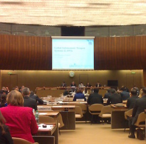 Conference room at the multilateral expert discussions on lethal autonomous weapons systems at the UN in Geneva, April 2015 (Article 36)
