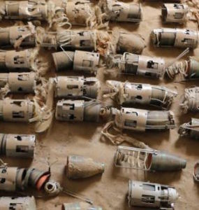 Some of the deadly 'bomblets' from a UK cluster bomb dropped on farmland in northern Yemen (© Amnesty International)