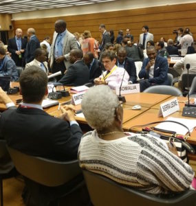 States gather to vote on the OEWG report on Friday evening in a crowded room at the UN in Geneva (Janet Fenton/Twitter)