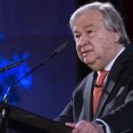 Secretary-General Antonio Guterres during presentation the An Agenda for Disarmement at a University Dufour in Geneva. 24 May 2018. UN Photo / Jean-Marc Ferré