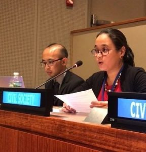 Mitzi Austero of Nonviolence International Southeast Asia delivers the joint statement to First Committee (Photo: Nonviolence International New York/Instagram)