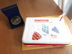 A birthday cake for the Treaty on the Prohibition of Nuclear Weapons, with ICAN's Nobel Peace Prize (Photo: Elizabeth Minor)