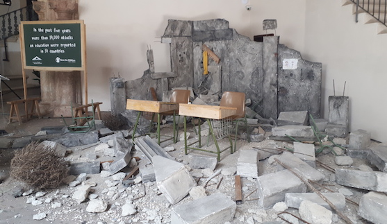 An art installation at the Third International Conference on Safe Schools in Palma, Spain, 2019, depicting a school destroyed in Syria (Photo: Article 36)